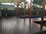 Decking wrapped around pool